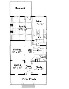 First Floor image of Kensington I - A House Plan - The HouseDesigners.com
