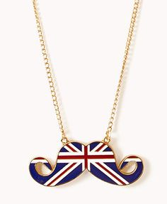 Gold/Blue long chain necklace featuring a mustache pendant with a lacquered British flag pattern Jewelry Accessories, Fashion Accessories, Women Jewelry, Fashion Jewelry, Chain Pendants, Pendant Jewelry, Pendant Necklace, Jewelry Necklaces, Long Chain Necklace