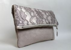Lace clutch fold over clutch lace and faux suede by Amayahandmade, $35.00  LOVE it!