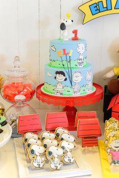Cakescape from a Peanuts + Snoopy Birthday Party on Kara's Party Ideas   KarasPartyIdeas.com (15)