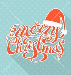 Retro christmas card with long shadow vector - by AlexVectors on VectorStock®