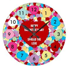 Valentines Candy Hearts-Round Wall Clock #zazzle #wallclocks #valentines #candy #hearts
