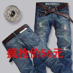 Men s Levi jeans levis blue hole tide Korean version of casual men straight  casual jeans Unit df0a6543bea4