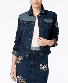 Buffalo David Bitton Floral Embroidered Denim Jacket