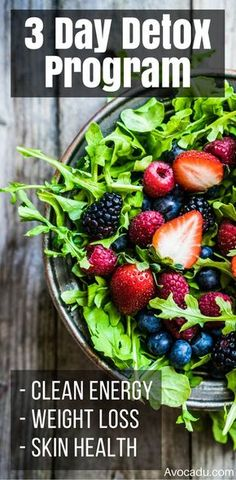 3 Day Detox Program for healthy living, regular detox, and/or weight loss. This detox will give you healthy skin and natural energy! It's important to combine regular detox with clean eating and a good fitness and workout plan to lose weight and stay in shape! http://avocadu.com/detox-diet-plan/