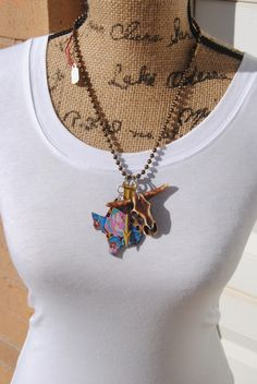 Harley and Maudes Floral Texas and Mustard Arrow Necklace