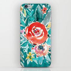 IN FLOW FLORAL Orange Watercolor Rose iPhone & iPod Skin