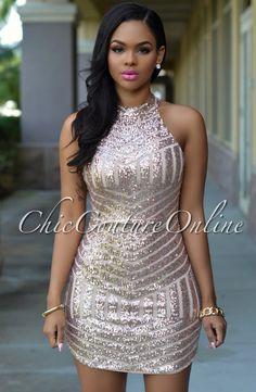 Rose Gold Sequin Dress ❤ … | Pinteres…