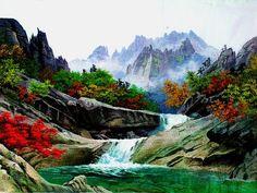 (North Korea) Mt Geumgang by Jeong Cheol-ho (1946~   ). Korean painting.