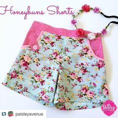 Little Honeybuns Flat Front Girls Shorts pdf pattern. Shorts made by Paisley Avenue  #PEhoneybuns #patternemporium #sewingforkids #handmade #pdfpattern