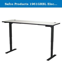 """Safco Products 1961GRBL Electric Height-Adjustable Table, 72"""" x 24"""", Gray/Black. Make standing a part of your workday with the Electric Height-Adjustable Table that lets you choose how you work. The Table Base easily adjusts from 24"""" to 50""""H (including 1"""" thick work surface) at 1.5"""" per second allowing the choice to sit or stand while working, and easily transition from one position to another. It also features a soft start/stop control and a quiet motor (<50dB) to not disturb others in…"""