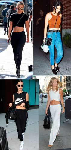 Street style look Bella Hadid, Gigi, kendall Jenner, Hailey Baldwin usando cropped top.