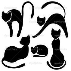 Baixar - Conjunto de silhueta de gato preto — Ilustração de Stock #12727496