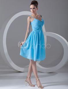 Blue A-line Straps Neck Sequin Chiffon Cocktail Dress - Milanoo.com