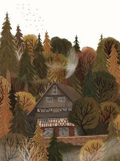 Autumn Illustration, Landscape Illustration, House Illustration, Autumn Forest, Autumn Art, Autumn Prints, Pretty Art, Cute Art, Painting Inspiration