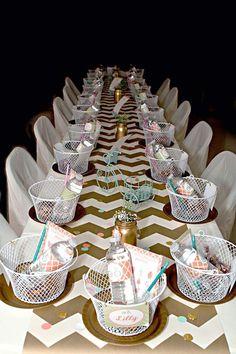 Vintage Chic Bicycle Party via Kara's Party Ideas KarasPartyIdeas.com - so cute! Love the baskets and chevron.