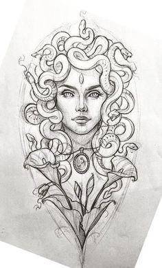 No esta bueno pero safa. Tattoo Sketches, Tattoo Drawings, Body Art Tattoos, Sleeve Tattoos, Lower Hip Tattoos, Medusa Tattoo Design, Medusa Art, Desenho Tattoo, Mini Canvas Art