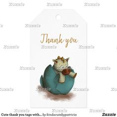 Cute thank you tags with a dragon illustration