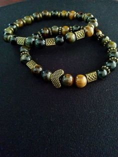 Tiger Eye Bracelet Bronze set for Women and another for Men #Handmade #Friendship