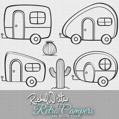 Retro Campers Vector Illustrations - 24 images, Color & Line Art - AI EPS… Retro Campers, Vintage Campers, Vintage Rv, Retro Rv, Vintage Trailers, Camper Trailers, Travel Trailers, Vintage Travel, Etsy Vintage