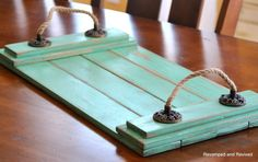 Wooden Tray Serving Tray Platter Rope by revampedandrevived