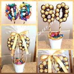 Birthday tree created using a mix of roses & Ferrero rocher - Ferrero Rocher Gift, Ferrero Rocher Bouquet, Birthday Tree, Candy Birthday Cakes, Birthday Gifts For Best Friend, 50th Birthday Gifts, Craft Gifts, Diy Gifts, Handmade Crafts