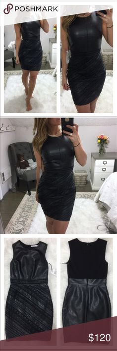 NWT BAILEY 44 Black Leather Body Con Dress S NWT Bailey 44 - leather dress with woven/ braided detailing - stretch knit back of bodice for a perfect fit. -- size small. This dress is fierce!! Bailey 44 Dresses Mini