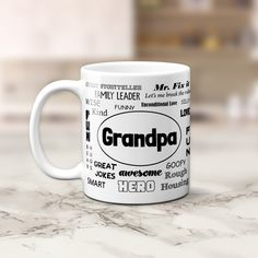 Our Typography Grandpa Coffee Mug is a great gift for any occasion. Let a special grandfather know he is appreciated with this touching display of love! Things To Come, Good Things, Grandpa Gifts, Smart Jokes, Unconditional Love, White Ceramics, Storytelling, Coffee Mugs, Typography