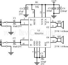 TDA2050 Power Amplifier Circuit | electronics | Pinterest | Circuit ...