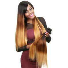 Klaiyi Brazilian Ombre Straight Human Hair #1B/4/27 Color Balayage Straight Hair, Hair Bundle Deals, Ombre Hair Extensions, Wholesale Hair, Ombre Hair Color, Stylish Hair, 100 Human Hair, Hair Lengths, Straight Hairstyles