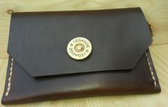 Handsewn USA Men's Horween Brown Chromexcel Leather Wallet Large With Shotgun Shell Snap Closure