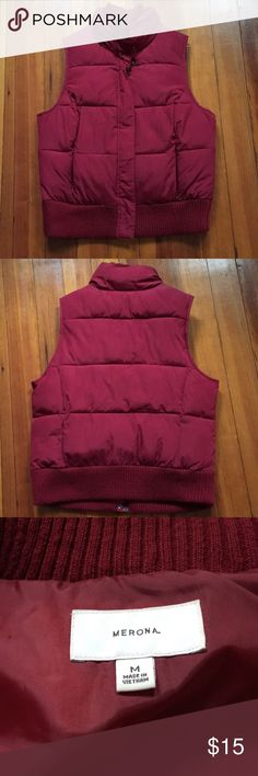 """Burgundy Puffy Vest Puffy vest, good used condition. Lots of life left! Two front zipper pockets and very warm. Full zipper and snaps. 23"""" shoulder to bottom, 21"""" across from armpit to armpit. Merona Jackets & Coats Vests"""