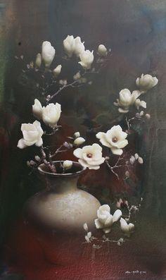 Magnolia by Park Chul Hwan, 150 x Acrylic on Canvas. Flower Painting Canvas, Watercolor Paintings, Art Pictures, Art Images, Photos, Art Et Nature, Graffiti Wall Art, Japan Painting, Vintage Botanical Prints