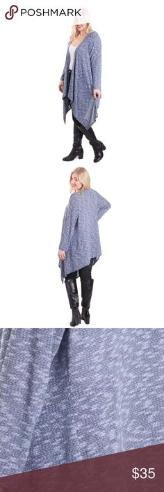 Women's Plus Size Long Sleeve Waterfall Cardigan Nwot Features: Open Front, Long Sleeves, Waterfall Fabric Content: 96% Polyester 4% Spandex Product Care: Hand or machine wash cold, tumble dry low heat Color : Heather Navy. It is more blue than in the picture Hot Ginger Sweaters Cardigans