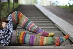 Ravelry: Surprise stripes pattern by Anna Johanna  Stripes keep it from becoming TOO boring for such long stockings.