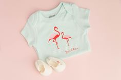 Flamingo baby outfit. Make It Now with the Cricut Explore Air machine in Cricut Design Space.