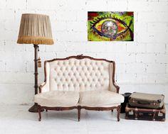 Distorted Eye Acrylic Painting 40x60 Originally by Anonim Paintings