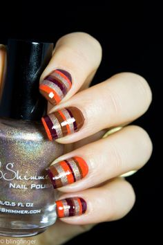 Fall Stripes - Nail Art
