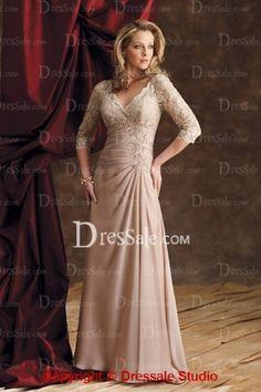 Champagne V Neck Sleeves Lace Chiffon Style Groom Dress c77eb7041ed3
