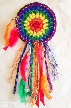 Rainbow Inspired Crochet Dreamcatcher Wall Hanging by CraftPeaceLove