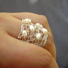 Spread Ring, Crochet Sterling Silver Wire and Pearls
