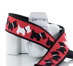 dSLR Camera Strap Scottie Dog Scottish Terrier Red White by ten8e