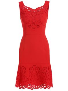 Red Round Neck Sleeveless Hollow Embroidered Dress