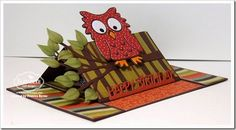 Karen Burniston August Designer Challenge Card 2 created by Frances Byrne using Poppy the Owl; All Seasons Tree; Lorna Label Pop Up; Katie Label Pivot - designed by Karen Burniston for Elizabeth Craft Designs; Happy Birthday Stand Up Helper; Curvy Leaves - Elizabeth Craft Designs