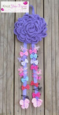 Knot Your Nana's Crochet: Large Flower Hair Bow Holder...free pattern!