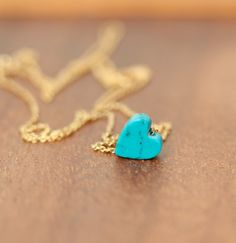 Turquoise heart necklace  love necklace  heart jewelry by BubuRuby