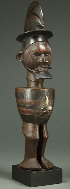 Spectacular Teke Figure Filled with Magical bilongo. Fetish Figure Teke Tribe, Democratic Republic of Congo. Few Teke figures to enter the Western art market demonstrate the level of carving skill, aesthetic beauty, and impact conveyed by this figure. Vetted as antique and authentic by a committee of experts at Bruneaf in Brussels. This and more ethnographic art for sale on the CuratorsEye.com