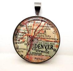 Vintage Map Pendant of Denver, Colorado...denver holds my heart....
