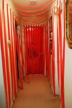 I'm finally uploading my own fun idea to Pinterest! :) I decorated the hallway leading to my daughter's bedroom with red (her favorite color) streamers and covered her door with metallic red wrapping paper. We called this the Birthday Hall of Fame since she's our little rock star. This was done for her 5th birthday. Great way to decorate with a limited budget.