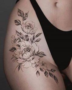 Flower Hip Tattoos, Hip Thigh Tattoos, Floral Thigh Tattoos, Leg Tattoos Women, Spine Tattoos, Feminine Tattoos, Sexy Tattoos, Cute Tattoos, Beautiful Tattoos